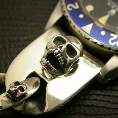 シルバー925ブレスレット スカルモチーフ 腕時計用(20mm) 03