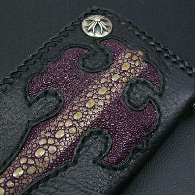 シルバーポイント 革財布 クロスモチーフ 紫 ロング三つ折 02
