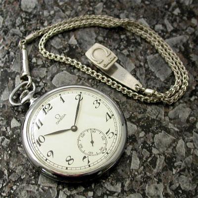オメガ 懐中時計 白文字盤 Cal.960 美品 アンティークウオッチ