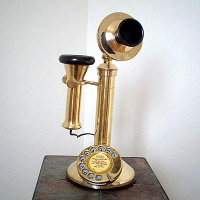 英国製 アンティーク電話機 ゴールド 縦型 フラット 02