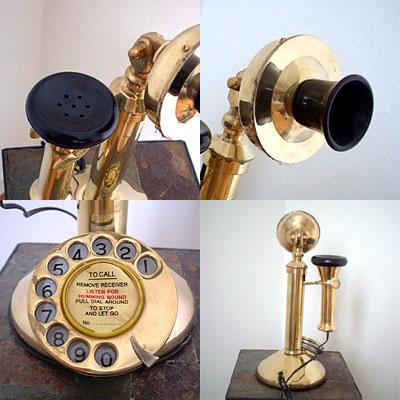 英国製 アンティーク電話機 ゴールド 縦型 フラット 03