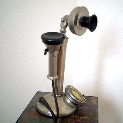 英国製 アンティーク電話機 シルバー 縦型 フラット 02