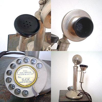 英国製 アンティーク電話機 シルバー 縦型 フラット 03