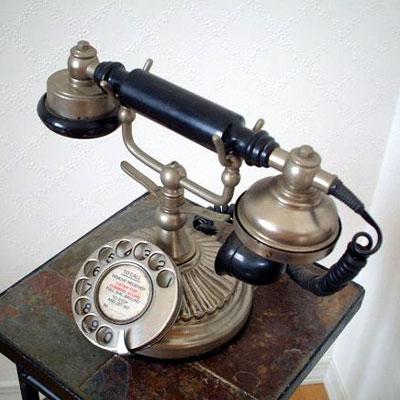 英国製 アンティーク電話機 シルバー 横型 ウェーブ 02
