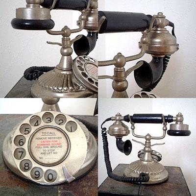 英国製 アンティーク電話機 シルバー 横型 ウェーブ 03