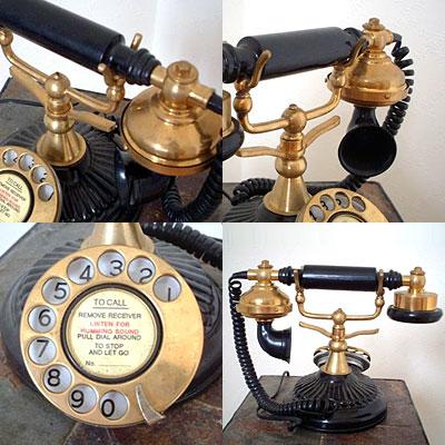 英国製 アンティーク電話機 ブラック 横型 ウェーブ 03