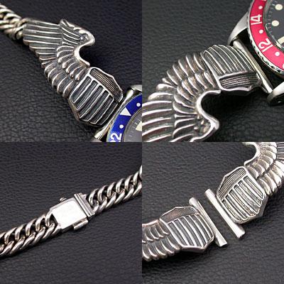 シルバー925ブレスレット ミリタリーウイングベルト 腕時計用(18mm) 03