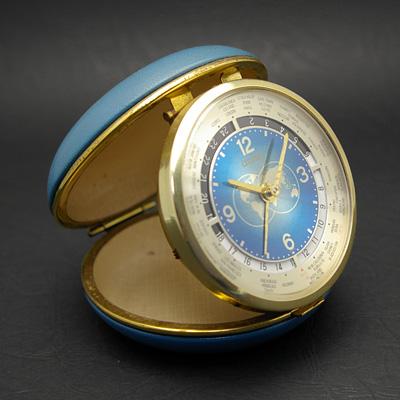シチズン ワールドタイム トラベルウオッチ ブルーコンパクト型ケース 美品