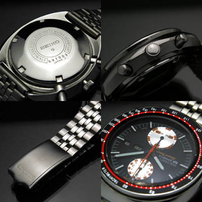 セイコー ビッグダブルクロノ 黒文字盤 赤黒ベゼル 6138 美品 アンティークウオッチ 03