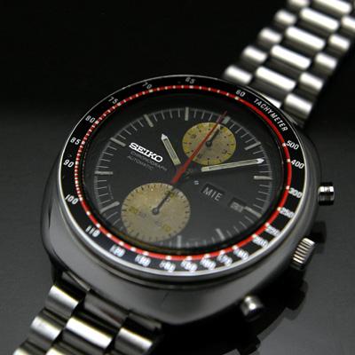 セイコー ビッグダブルクロノ 黒文字盤 赤黒ベゼル 6138 アンティークウオッチ 02
