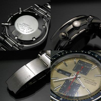 セイコー スピードタイマー クロノグラフ ブラックベゼル&ゴールドダイアル アンティークウオッチ 03