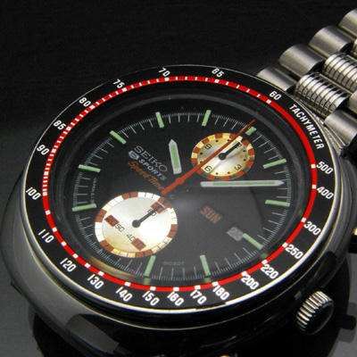 セイコー ビッグダブルクロノ 5スポーツ スピードタイマー クロノグラフ 赤黒ベゼル アンティークウオッチ 02