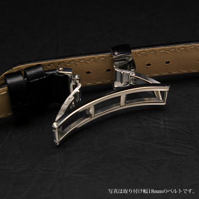 腕時計用 革ベルト 18mm Dバックル仕様 ブラック 02