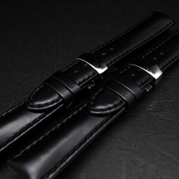 腕時計用 革ベルト 18mm Dバックル仕様 ブラック 2本セット