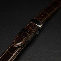 腕時計用 革ベルト 18mm Dバックル仕様 ブラウン クロコ型押し