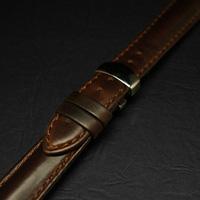 腕時計用 革ベルト 20mm Dバックル仕様 ブラウン プレーン