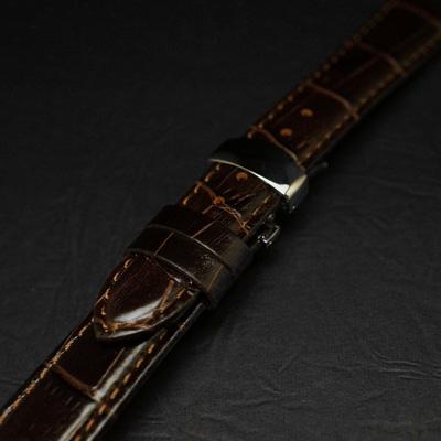 腕時計用 革ベルト 22mm Dバックル仕様 ブラウン クロコ型押し