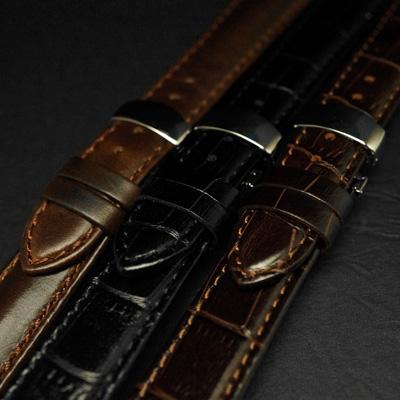 腕時計用 革ベルト 24mm Dバックル仕様 ブラック クロコ型押し 03
