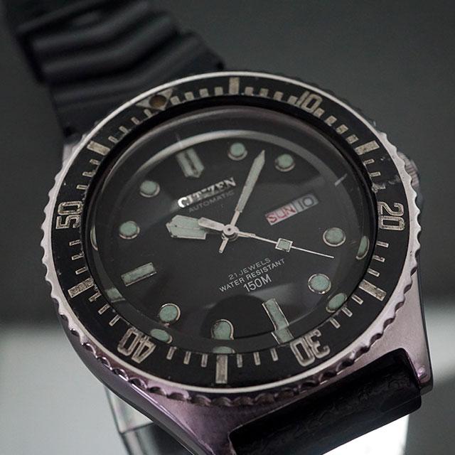 シチズン ダイバーズ 150m オートマチック 黒文字盤 アンティークウオッチ 07